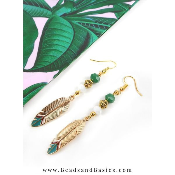 Boho Feather Charm Gold 33x10mm