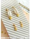 Minimalist Earrings With Kauri Shell Bead And Star Charms