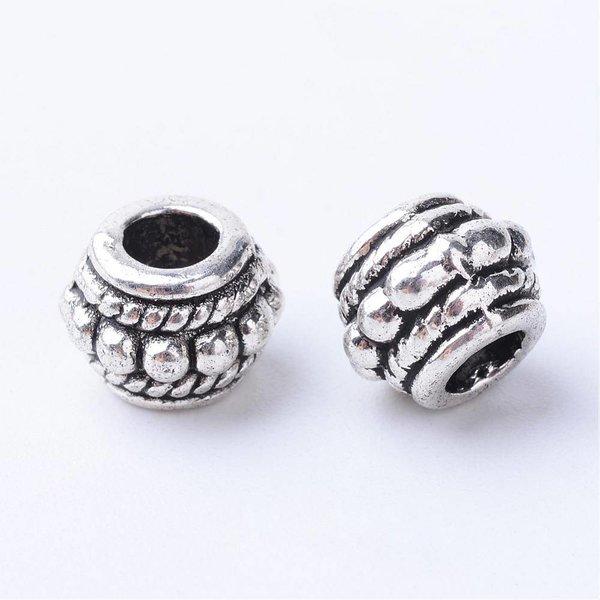 Tibetaanse Kralen Zilver 8x6mm voor 3.5mm, 8 stuks