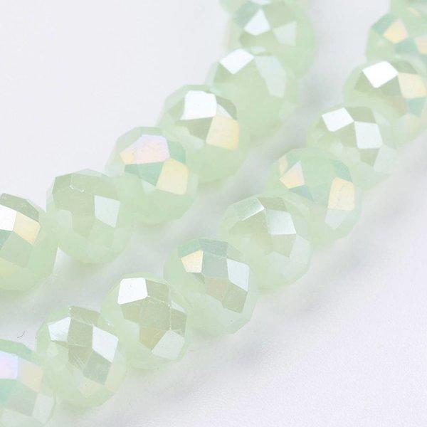 50 stuks Facet Glaskralen Mint Shine 6x4mm