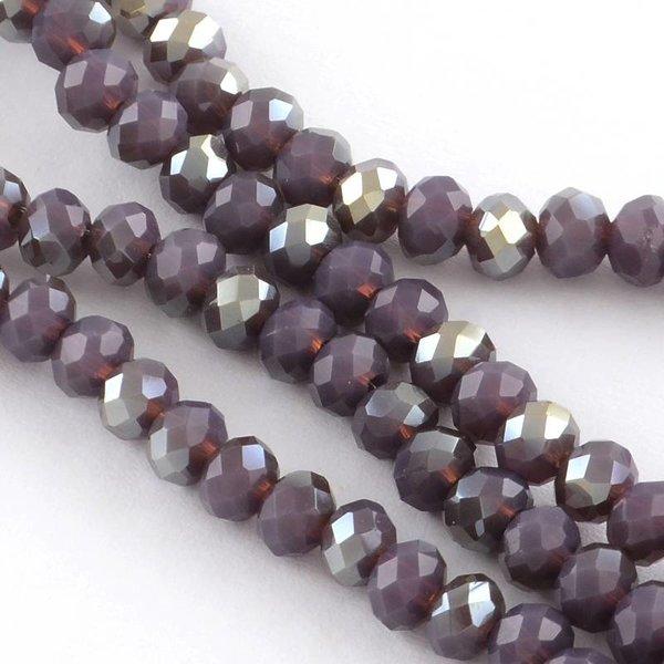 50 pieces Facet Bead Purple Shine 6x4mm