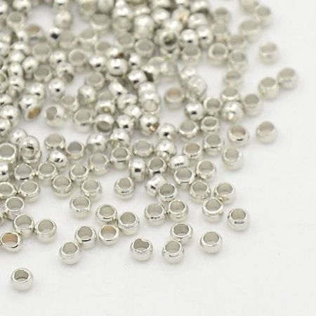 Crimp Beads Silver 2mm, 100 pieces