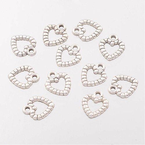 10 pcs Silver Heart Charm 10x11mm