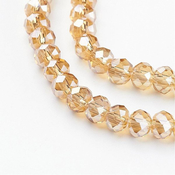 Faceted glass beads Light Gold Shine 6x4mm, 25 pieces