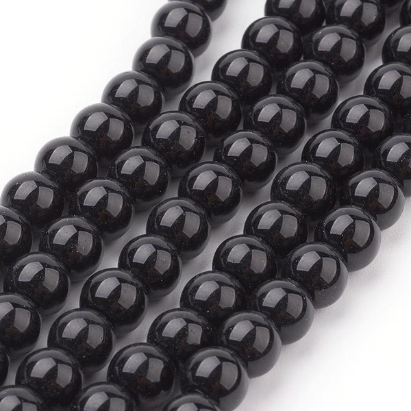 80 pieces Glassbeads Black 6mm