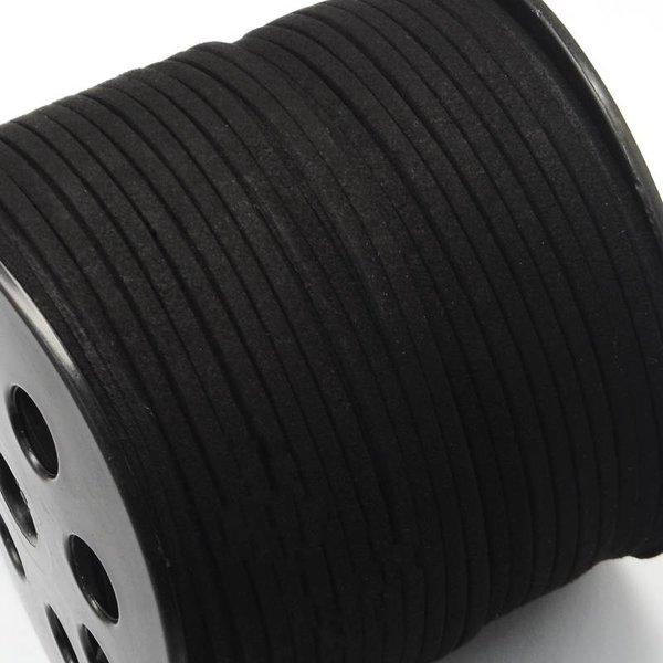 Faux Suede Cord Black 3mm, 3 meter