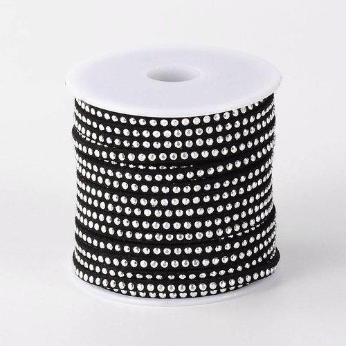 Suede Cord Black 3mm with Silver Studs. 1 meter