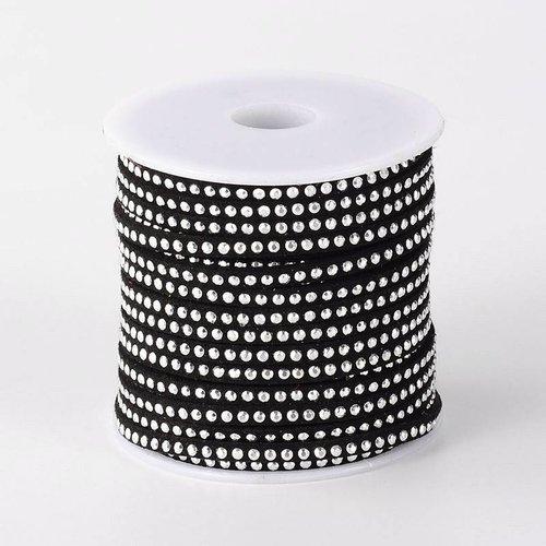 Suede met Zilveren Studs Zwart 3mm, 1 meter
