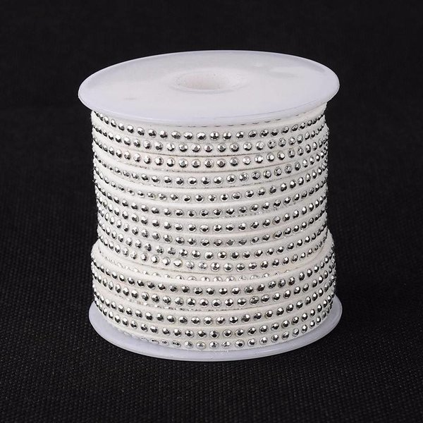 Suede Cord White 3mm with Silver Studs, 1 meter