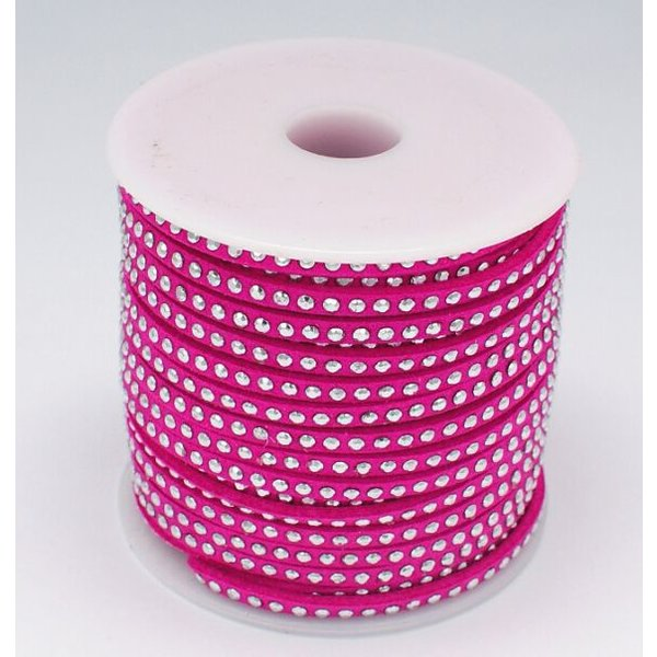 Suede Cord Fuchsia Pink 3mm with Silver Studs, 1 meter