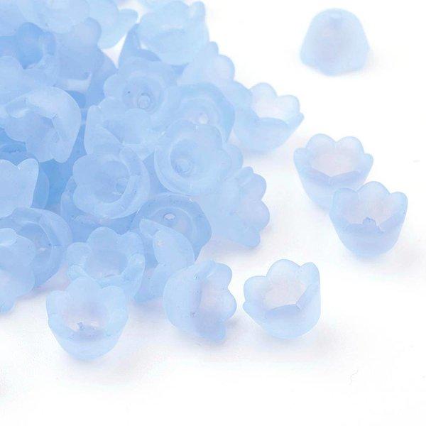 Flower Beads Light Blue 10x7mm, 10 pieces