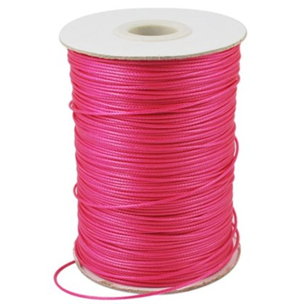 Waxed Cord Deep Pink 1mm, 3 meter