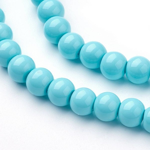 Glassbeads Turquoise 6mm, 40 pieces