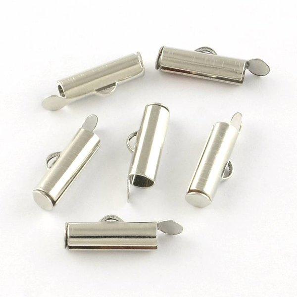 Eindkap voor Weefarmbandje Zilver 13mm, 8 stuks