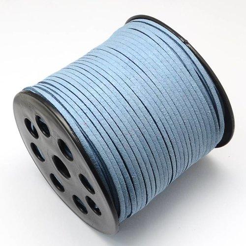 Suede Cord Grey Blue 3mm, 3 meter