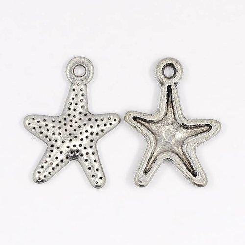 6 pcs Starfish Charm Silver 16x12mm