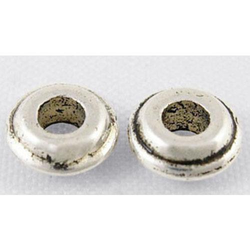 20 pcs Metal Beads Rondelle Silver Nickel free 6mm
