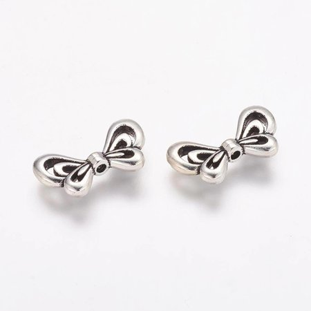 Nickel Free Silver Wing Beads 17x10mm, 6 pieces