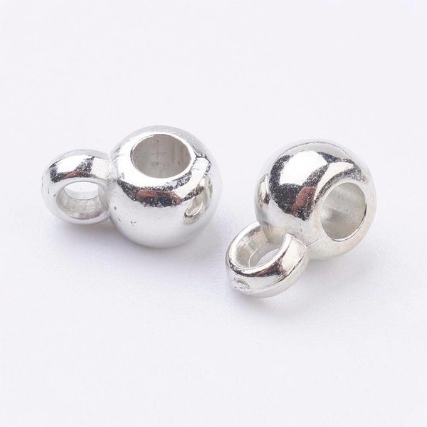 Bailbeads Metallook Silver 6x9mm fit 3mm cord, 25 pieces