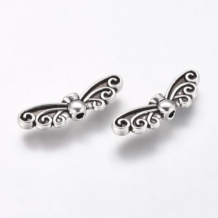 6 pieces Wing Beads Silver 22x6mm