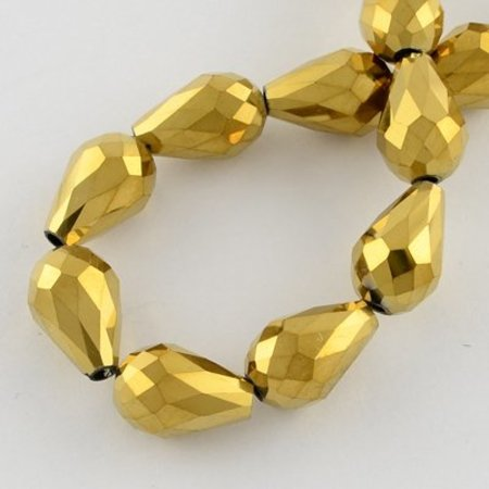 Faceted Dropbeads Gold Metallic 11x8mm, 10 pieces