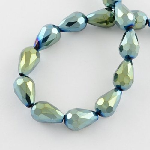 Faceted Dropbeads Metallic Seagreen 11x8mm, 10 pieces