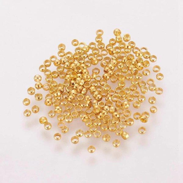 Knijpkralen Goud 2mm, 100 stuks