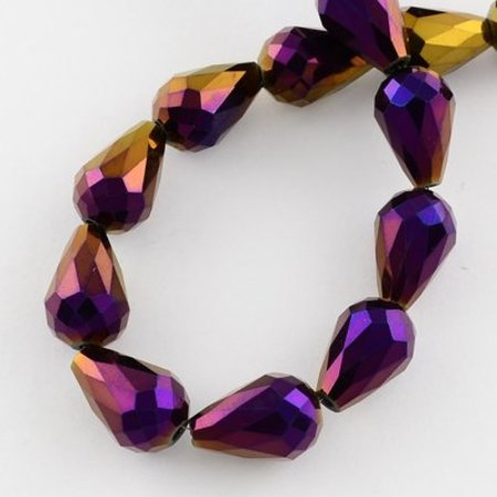 Faceted Dropbeads Purple Metallic 11x8mm, 10 pieces