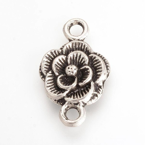 Spacer Flower Silver 12mm, 4 pieces
