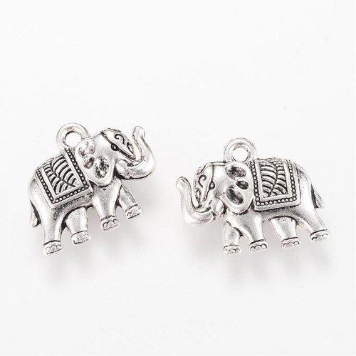 Elephant Charm Silver 19x17mm, 3 pieces