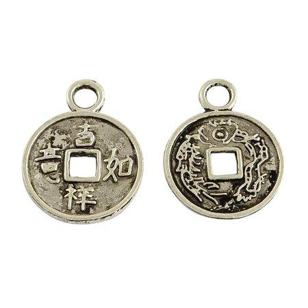 6 stuks Bedel Zilver Chinees Geluksmuntje 17x13mm