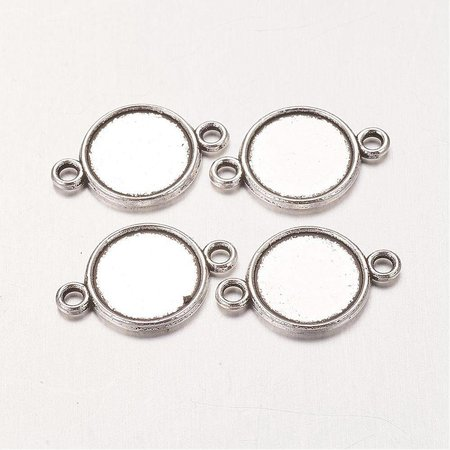 Connector Silver 18x12mm fits 10mm Cabochon, 4 pieces