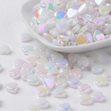 15 stuks Hartje Kralen Wit Shine 8x3mm