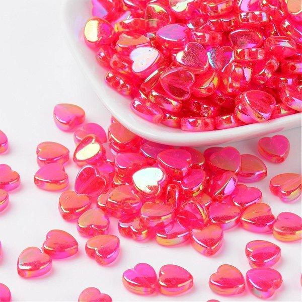 15 stuks Hartje Kralen Roze Shine 8x3mm