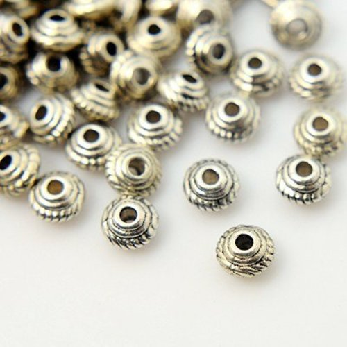 15 pcs Bicone Spacer Silver 5x3mm