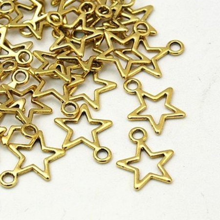 Star Charm Gold 15x12mm, 8 Pieces