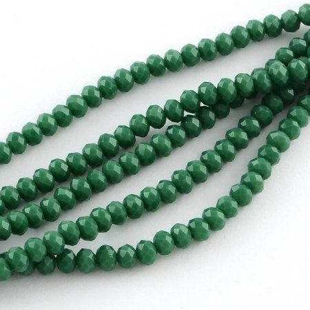 40 stuks Facet Glaskralen Donker Groen 4x3mm