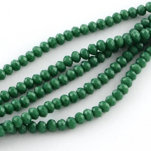 40 pcs Faceted Bead Dark Green 4x3mm