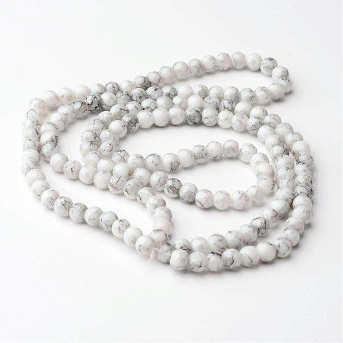 Look Marble glass beads 6mm, 30 pieces