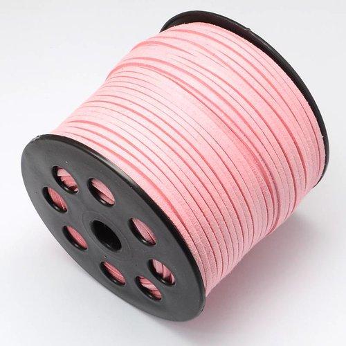 Suede Veter Roze 3mm, 3 meter