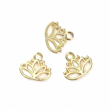 Lotus Flower Charm Gold 17x15mm, 6 pieces