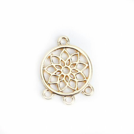 Spacer Lotus flower Gold 19x14mm, 3 pieces