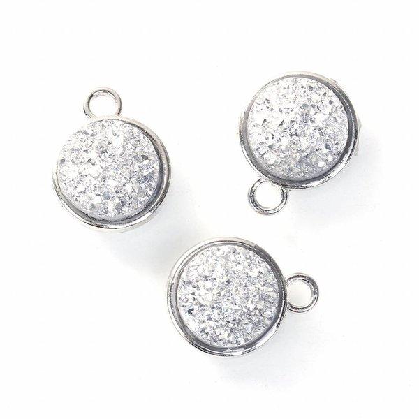 Druzy Glitter Charm Silver 18x15mm
