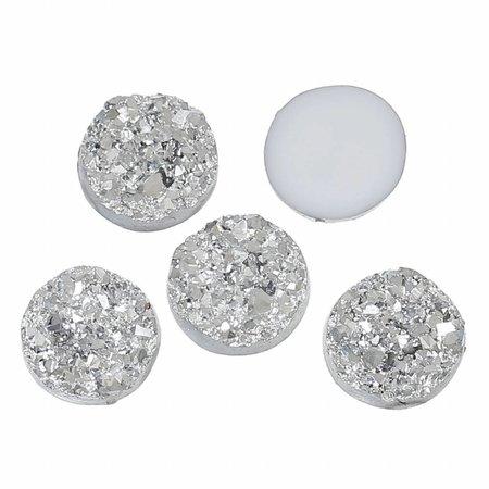 Druzy Glitter Cabochon Silver 12mm