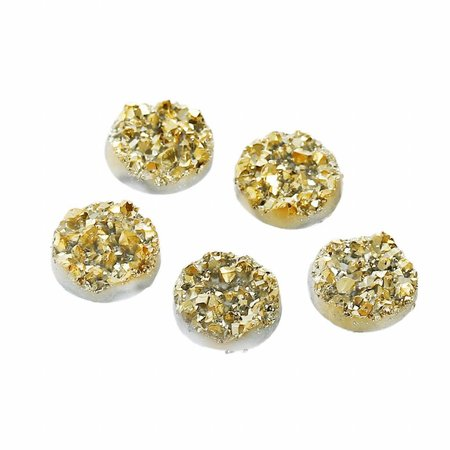 5 pieces Druzy Glitter Cabochon Gold 12mm