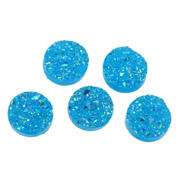 Druzy Glitter Cabochon Blue 12mm, 5 pieces