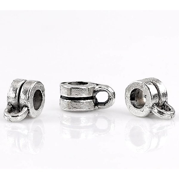 Bailbead Silver 9x6mm for 3mm Cord, 10 pieces