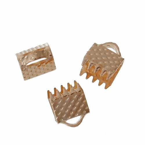 Fold Over Cord End Rose Gold 6x8mm, 10 pieces