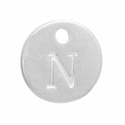 Initial Charm Silver 12mm Letter 'N'
