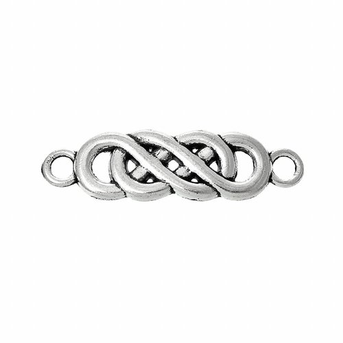 Spacer Infinity Twist Silver 22x6mm, 5 pieces